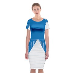 Bridge Sea Beack Blue White Classic Short Sleeve Midi Dress by Mariart