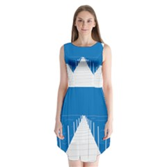 Bridge Sea Beack Blue White Sleeveless Chiffon Dress   by Mariart
