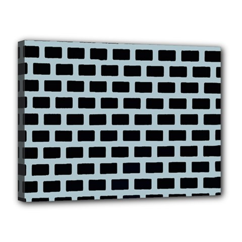 Bricks Black Blue Line Canvas 16  X 12  by Mariart