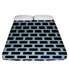 Bricks Black Blue Line Fitted Sheet (california King Size) by Mariart