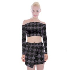 Square2 Black Marble & Black Watercolor Off Shoulder Top With Skirt Set