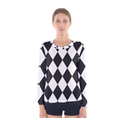 Broken Chevron Wave Black White Women s Long Sleeve Tee