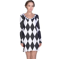 Broken Chevron Wave Black White Long Sleeve Nightdress by Mariart