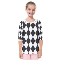 Broken Chevron Wave Black White Kids  Quarter Sleeve Raglan Tee