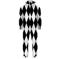 Broken Chevron Wave Black White Hooded Jumpsuit (men)  by Mariart