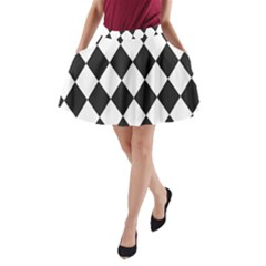 Broken Chevron Wave Black White A Line Pocket Skirt by Mariart