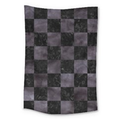 Square1 Black Marble & Black Watercolor Large Tapestry by trendistuff