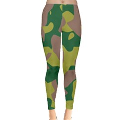 Camouflage Green Yellow Brown Leggings  by Mariart