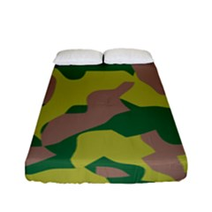 Camouflage Green Yellow Brown Fitted Sheet (full/ Double Size) by Mariart