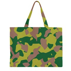 Camouflage Green Yellow Brown Zipper Large Tote Bag by Mariart