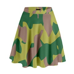 Camouflage Green Yellow Brown High Waist Skirt by Mariart