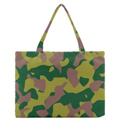 Camouflage Green Yellow Brown Medium Zipper Tote Bag