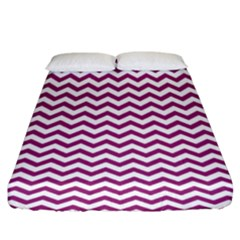 Chevron Wave Purple White Fitted Sheet (king Size) by Mariart