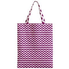 Chevron Wave Purple White Zipper Classic Tote Bag by Mariart
