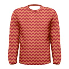 Chevron Wave Red Orange Men s Long Sleeve Tee by Mariart