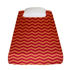 Chevron Wave Red Orange Fitted Sheet (single Size) by Mariart