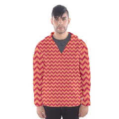 Chevron Wave Red Orange Hooded Wind Breaker (men) by Mariart