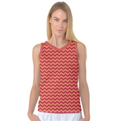 Chevron Wave Red Orange Women s Basketball Tank Top by Mariart