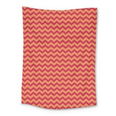 Chevron Wave Red Orange Medium Tapestry by Mariart