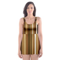 Brown Line Image Picture Skater Dress Swimsuit by Mariart