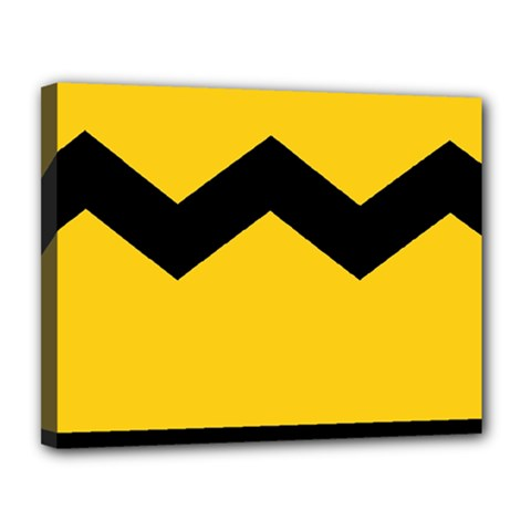 Chevron Wave Yellow Black Line Canvas 14  X 11  by Mariart