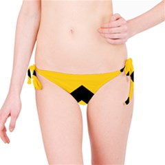 Chevron Wave Yellow Black Line Bikini Bottom by Mariart