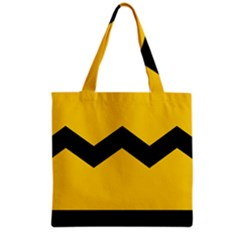 Chevron Wave Yellow Black Line Grocery Tote Bag by Mariart