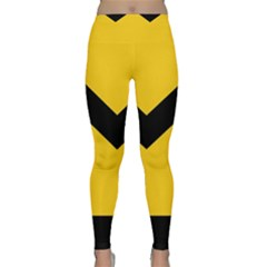 Chevron Wave Yellow Black Line Classic Yoga Leggings by Mariart