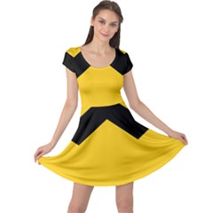 Chevron Wave Yellow Black Line Cap Sleeve Dresses by Mariart