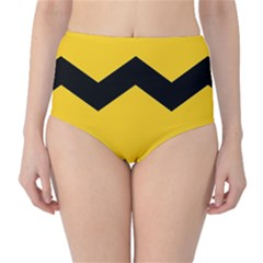 Chevron Wave Yellow Black Line High Waist Bikini Bottoms by Mariart