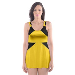 Chevron Wave Yellow Black Line Skater Dress Swimsuit by Mariart