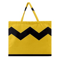 Chevron Wave Yellow Black Line Zipper Large Tote Bag by Mariart