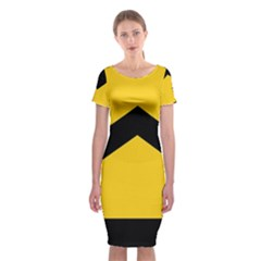 Chevron Wave Yellow Black Line Classic Short Sleeve Midi Dress by Mariart