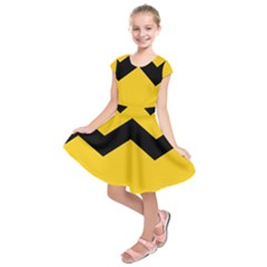 Chevron Wave Yellow Black Line Kids  Short Sleeve Dress by Mariart