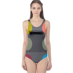 Circles Line Color Rainbow Green Orange Red Blue One Piece Swimsuit by Mariart