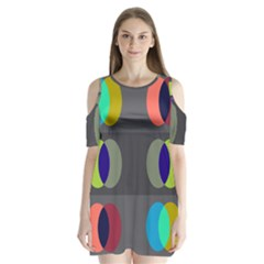 Circles Line Color Rainbow Green Orange Red Blue Shoulder Cutout Velvet  One Piece by Mariart