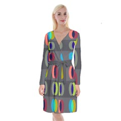 Circles Line Color Rainbow Green Orange Red Blue Long Sleeve Velvet Front Wrap Dress by Mariart