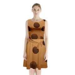 Cookie Chocolate Biscuit Brown Sleeveless Chiffon Waist Tie Dress by Mariart