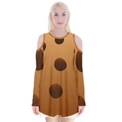 Cookie Chocolate Biscuit Brown Velvet Long Sleeve Shoulder Cutout Dress by Mariart
