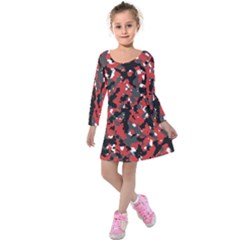 Bloodshot Camo Red Urban Initial Camouflage Kids  Long Sleeve Velvet Dress by Mariart