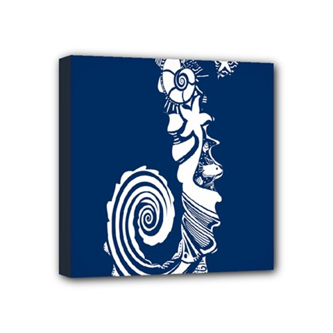 Coral Life Sea Water Blue Fish Star Mini Canvas 4  X 4  by Mariart
