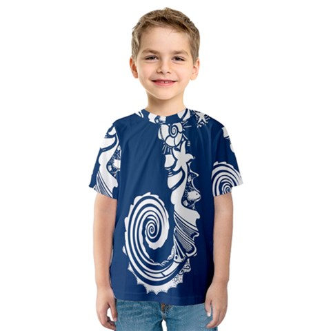 Coral Life Sea Water Blue Fish Star Kids  Sport Mesh Tee by Mariart