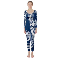 Coral Life Sea Water Blue Fish Star Long Sleeve Catsuit by Mariart