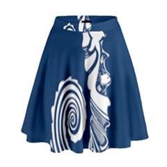 Coral Life Sea Water Blue Fish Star High Waist Skirt