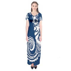 Coral Life Sea Water Blue Fish Star Short Sleeve Maxi Dress by Mariart