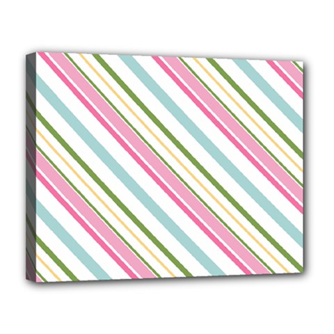Diagonal Stripes Color Rainbow Pink Green Red Blue Canvas 14  X 11  by Mariart