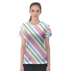 Diagonal Stripes Color Rainbow Pink Green Red Blue Women s Sport Mesh Tee by Mariart