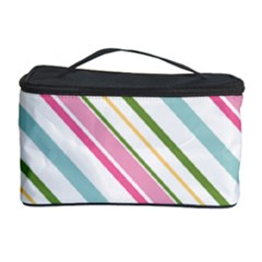 Diagonal Stripes Color Rainbow Pink Green Red Blue Cosmetic Storage Case by Mariart