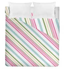 Diagonal Stripes Color Rainbow Pink Green Red Blue Duvet Cover Double Side (queen Size) by Mariart
