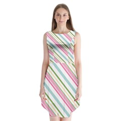 Diagonal Stripes Color Rainbow Pink Green Red Blue Sleeveless Chiffon Dress   by Mariart